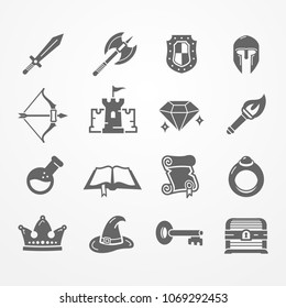 Set of fantasy role play PC game icons in silhouette style. Sword battle axe shield warrior helmet bow castle diamond torch potion spell book scroll. Vector stock image.