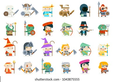 Set fantasy rpg game heroes villains character minions vector icons flat design vector illustration