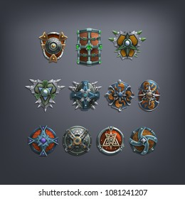 Set of fantasy shields armor for game. Vector illustration.