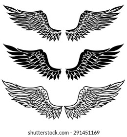 vector eagle wings images stock photos vectors shutterstock https www shutterstock com image vector set fantasy stylized wings isolated on 291451169