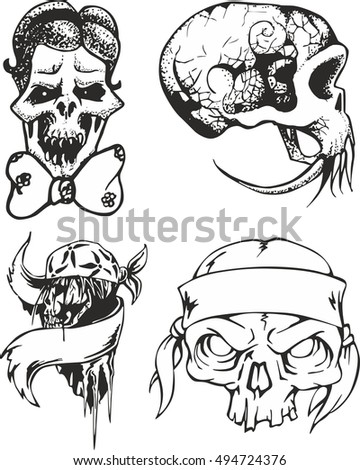 Set Fantasy Tribal Tattoo Sketches Human Stock Vector Royalty Free