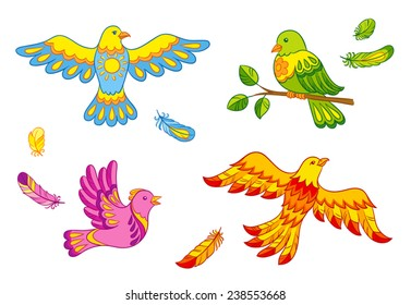 Set of fantasy vector birds and feathers