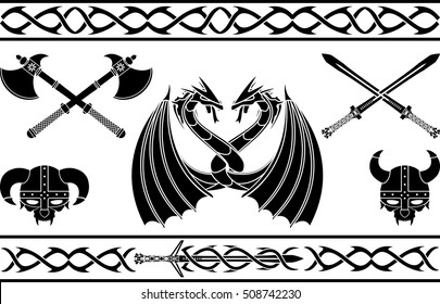 set of fantasy viking signs and patterns