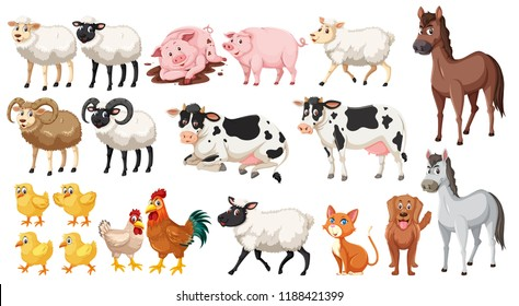 Set of farm animals illustration