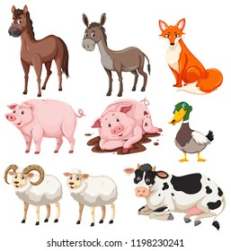 Set of farm animals illustration