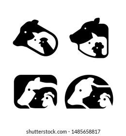 Set of Farm animals logo. Icon design. Template elements