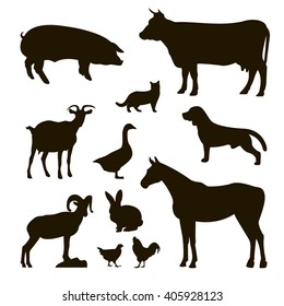 set of farm animals , pig, cow , bull, cat, goat, dog , horse , rabbit , rabbit , chicken , rooster , goose , vector art