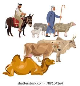 Set of farm animals with shepherds. Vector illustration isolated on white background