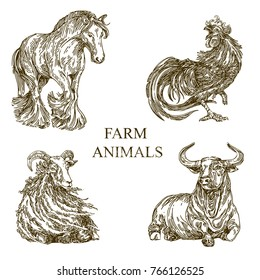 Set of farm animals. Sketch. Horse, rooster, sheep, bull. Engraving style. Vector illustration.