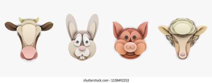 Set van boerderijdieren in trendy papieren gesneden ambachtelijke grafische stijl. Varken, koe, schapen, konijn. Modern ontwerp voor reclame, branding wenskaart, cover, poster, banner. Vector illustratie.