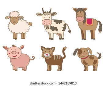 Set of farm animals, vector illustration