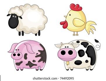 set of farm animals. vector illustration