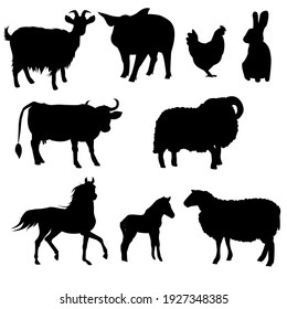 A set of farm animals. Vector isolated on a white background. Horse, Foal, Cow, Goat, Pig, Chicken, Sheep, Ram, Rabbit.