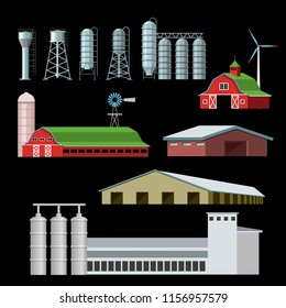 Set of farm buildings and constructions. Vector illustration