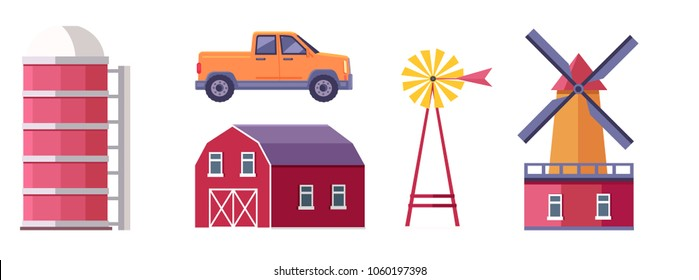 Set of farm buildings, structures and machines. Traditional wooden barn, windmill with wind water pump, pickup truck and granary flat isolated vector illustrations. Ranch icons collection