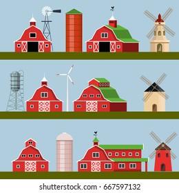 Set of farm buildings. Vector illustration