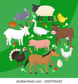 Set of farm domestic animals round pattern vector illustration. Collection of cute pet animal. Cartoon cow and horse, pig and goose, rabbit, hen, turkey, chick, goat, sheep.
