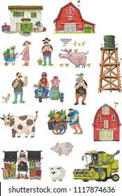 Set of farm elements like farmers, animals.