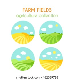 Set of farm fields landscapes. Round badges with crop in field. Cartoon green field of sowing. Flat argiculture collection.