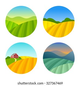 Set of Farm Fields Landscapes. Rural Farmhouse on Grasses Fields with Mountains. Agriculture in Village Illustrations.