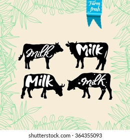 Set of farm logo templates with cow. Vector isolated illustration on floral background