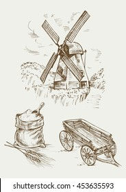 Set farm object: rustic old mill, flour bag and a cart. Hand drawn vector illustration in vintage style.