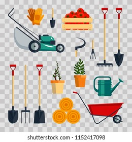 Set farm tools flat-vector illustration. Garden instruments icon collection on transparent background. Farming equipment