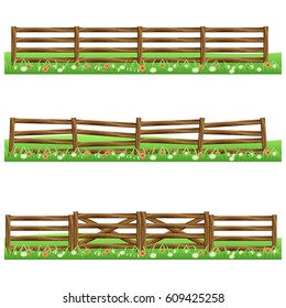 Set of farm wooden fences isolated on white background with grass and flowers.Fits as scene elements for cartoon or game asset. Vector illustration.