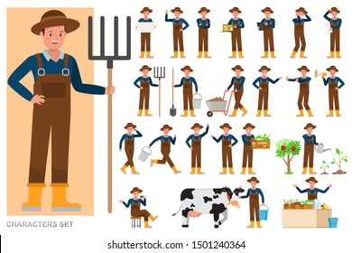 Set of Farmer character vector design. Presentation in various action with emotions, running, standing and walking.