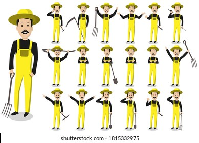 Set of farmer with different poses. Set of farmer character poses. Peasant cartoon character set. Isolated vector illustration.