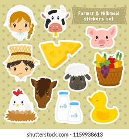 Set of farmer and milkmaid characters, animals and items cartoon vector.