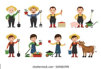 Set of farmers and gardeners with shovel, rake, hose, cow and pig. Gardener watering flowers. Farmer with harvest