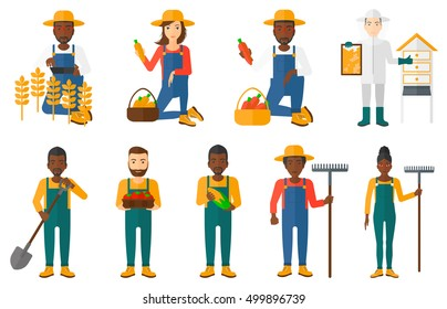 Set of farmers using agricultural tools. Farmer with shovel, rake. Farmer in wheat field working on tablet. Farmer harvesting crop. Beekeeper at apiary.Vector illustration isolated on white background