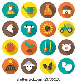 Set of farming harvesting and agriculture decorative icons set of animals plants tools isolated flat style icons in circles with long shadows. Vector illustration.