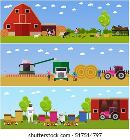 Set of farming, wheat harvesting, beekeeping concept banners. People working on farm, field, apiary. Agricultural machinery. Vector illustration in flat style.