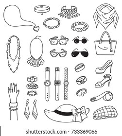 Set of fashion accessories doodle isolated on white background