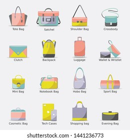 Set of fashion bag flat icons diffrent types of hadbag: tote, sports, clutch, hobo, shopping bag, business and travel bags.