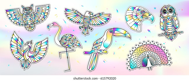 Set of fashion bird patches with holographic effect. Abstract stickers, badges, labels in cartoon style. Vector illustration isolated on hologram foil background.