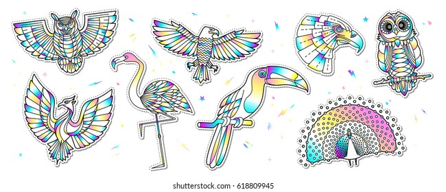 Set of fashion bird patches with holographic effect. Abstract stickers, badges, labels in cartoon style. Vector illustration isolated on white background.