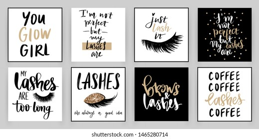 Set with fashion cards with golden inspiration quote about girls, lashes, brows, makeup. Ideal for girls room, cards, beauty salon, posters and social media.