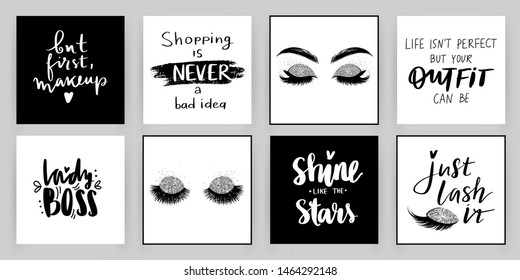 Set with fashion cards with inspiration quote about girls, lashes, makeup. Ideal for girls room, cards, wall decoration, posters and social media.