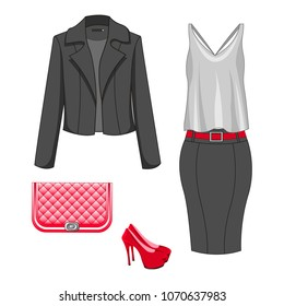 Set of fashion clothes of autumn, spring, summer season outfit. Woman trendy and stylish clothing. Skirt, blouse, blazer / jacket, shoes, handbag - clutch. Vector illustration, EPS10.