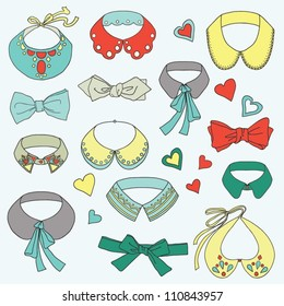 Set of fashion collars and bow ties