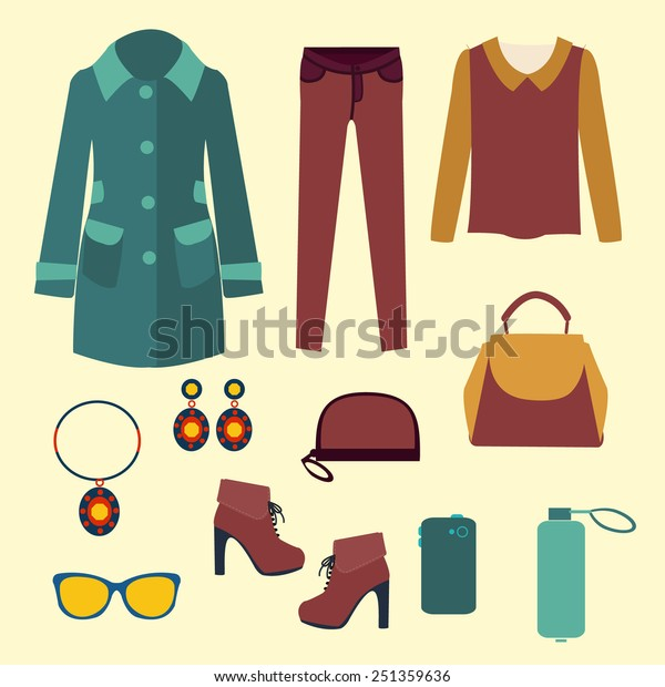 ba268ec786d1 set of Fashion collection of spring and Autumn woman wardrobe -  Illustration. Vector vector fashion