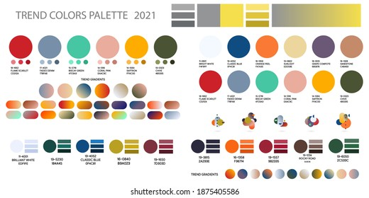 Set Fashion color trend 2021. Color palette forecast of the future color trend. Stock vector palette of shades
