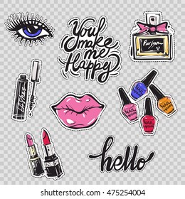 Set of fashion elements and accessories: lips, eyes, nail polish colors, french perfume, mascara with applicator, pink and red lipstick. Vector patches, badges or stikers kit.