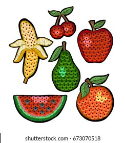 Set of fashion embroidered patch fruits with sequin for textile design