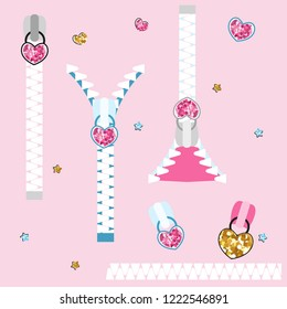 Set of fashion glitter zippers. Cute childish elements. Vector hand drawn illustration.