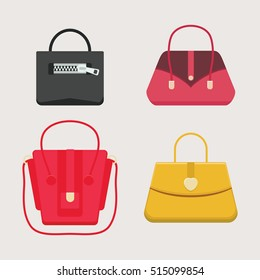 Set of fashion handbags. Isolated objects. Vector illustration