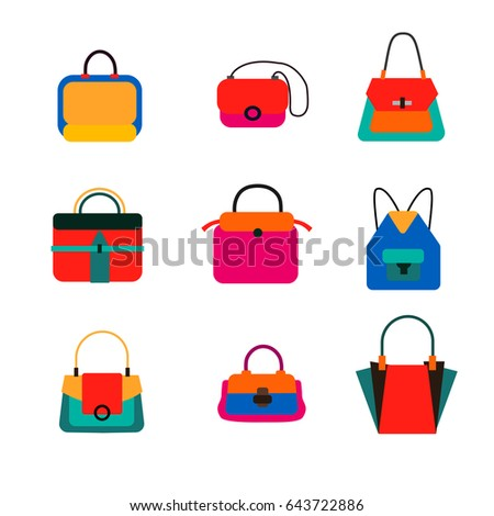 4aa0f2eb94a8 Set of Fashion Handbags and Purses in Bright Colors. Flat Design. Vector  Illustration.